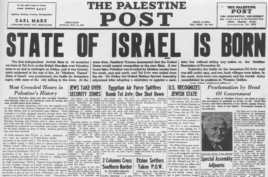 State of Israel established May-1948